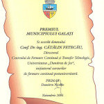 Premiul Municipiului Galati - 2001